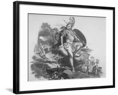 Copper Plate Etching Showing Roman God Mars, God of War and Father of Romulus and Remus--Framed Photographic Print
