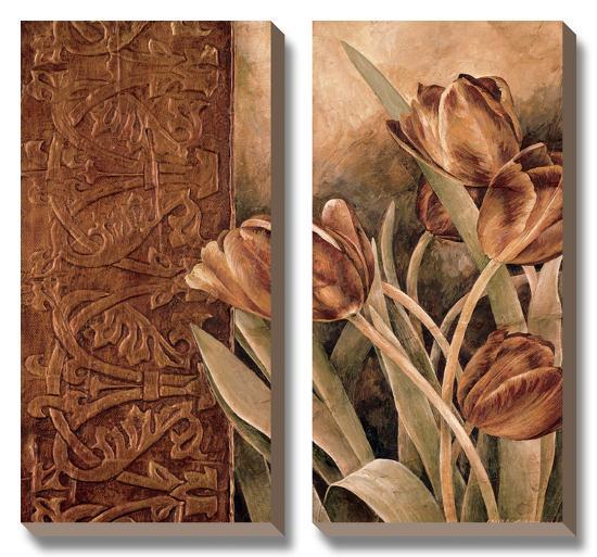 Copper Tulips I-Linda Thompson-Canvas Art Set
