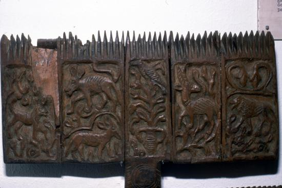 Coptic woodcarving with animals, 6th-7th century-Unknown-Giclee Print