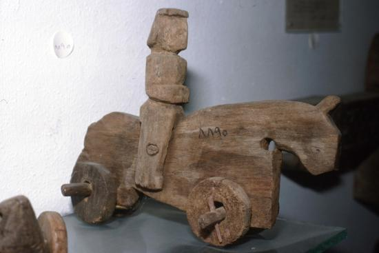 Coptic Wooden Wheeled toy, Horse & rider, c640-1500-Unknown-Giclee Print