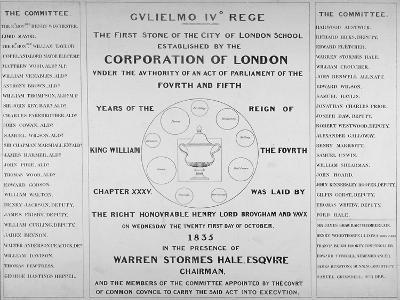 Copy of the Inscription from the First Stone of the City of London School, 1835--Giclee Print