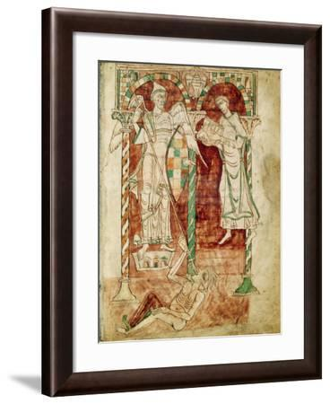 Copyist Presents His Book to St. Michael, from Recognitiones by Saint Clement--Framed Giclee Print