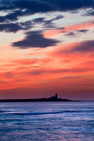 Coquet Island Red Sky-Mark Sunderland-Photographic Print