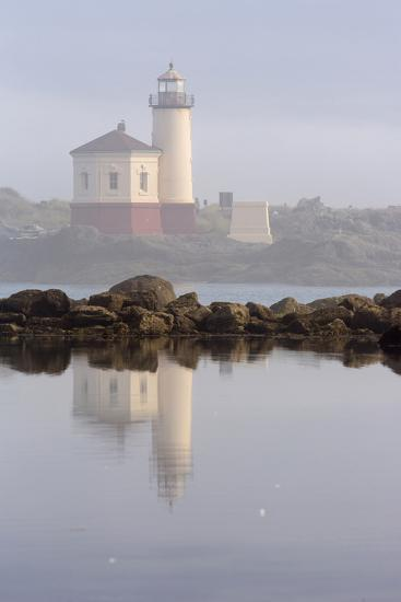 Coquille River Lighthouse in Morning Fog in Bandon, Oregon, USA-Chuck Haney-Photographic Print