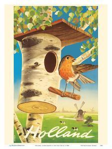 Holland - Netherlands - Tree Trunk Birdhouse, Dutch Windmills by Cor Van Velsen