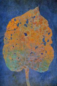 Leaf Orange on Blue by Cora Niele