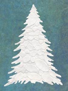 Snowy Fir Tree on Blue by Cora Niele
