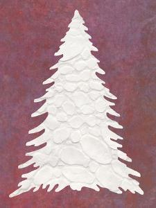 Snowy Fir Tree on pink by Cora Niele