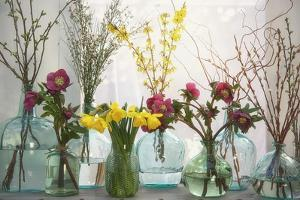 Spring Flowers in Glass Bottles I by Cora Niele