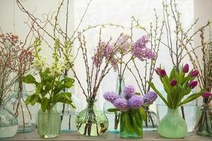 Spring Flowers in Glass Bottles III by Cora Niele