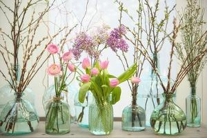 Spring Flowers in Glass Bottles VI by Cora Niele