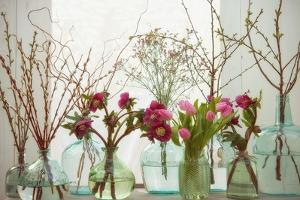 Spring Flowers in Glass Bottles VII by Cora Niele