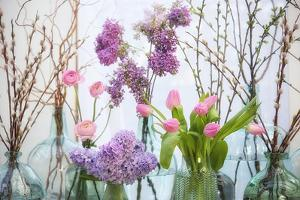 Spring Flowers in Glass Bottles VIII by Cora Niele