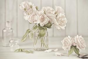 Vintage Roses in Antique Glass by Cora Niele