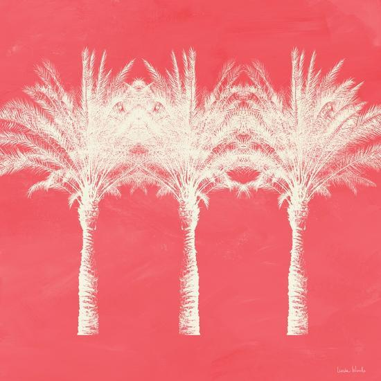 Coral and Ivory Palm Trees-Linda Woods-Art Print