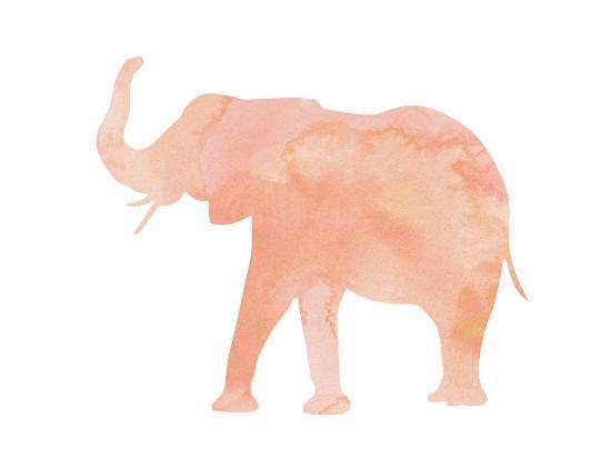 d772b7450c11 Coral Elephant Art Print by Peach   Gold