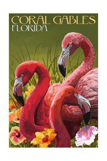 Coral Gables, Florida - Flamingos-Lantern Press-Art Print