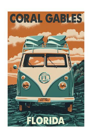 Coral Gables, Florida - VW Van-Lantern Press-Art Print