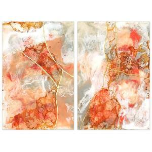 """Coral Lace 1&2"" Frameless Free Floating Tempered Glass Panel Graphic Art"