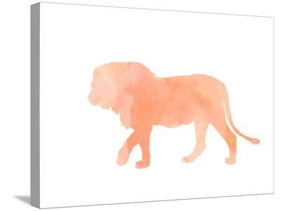 Coral Lion-Peach & Gold-Stretched Canvas Print