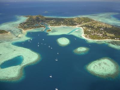 Coral Reef and Malolo Lailai Island, Mamanuca Islands, Fiji-David Wall-Photographic Print