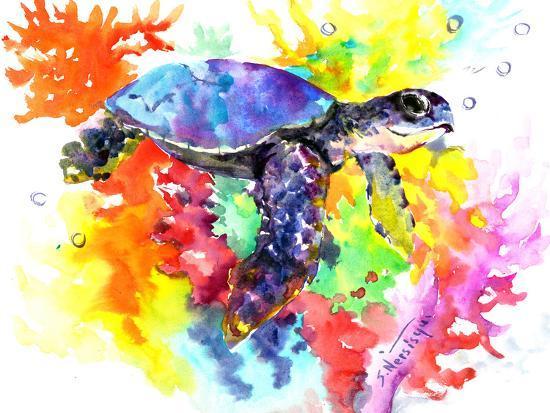 Coral Reef Sea Turtle 2-Suren Nersisyan-Art Print