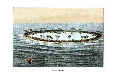 Coral Reef Surrounding a Lagoon--Giclee Print