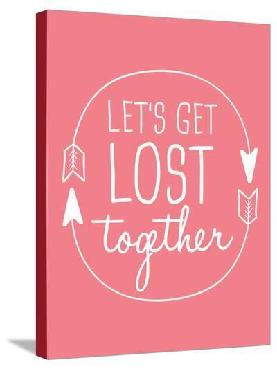 Coral White Let's Get Lost-Jetty Printables-Stretched Canvas Print