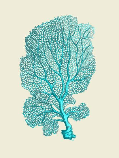 Corals Turquoise On Cream c-Fab Funky-Art Print