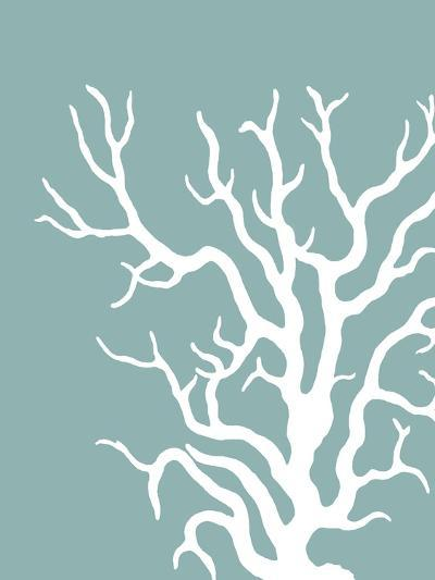 Corals White on Mist Blue Green a-Fab Funky-Art Print