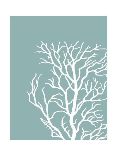 Corals White on Mist Blue Green c-Fab Funky-Art Print
