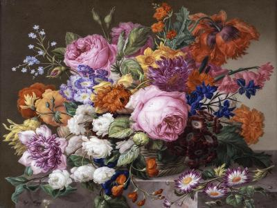Corbeille de fleurs peintes au naturel-Joseph Nigg-Giclee Print