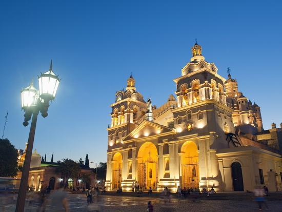 Cordoba Cathedral at Night, Cordoba, Argentina, South America-Christian Kober-Photographic Print