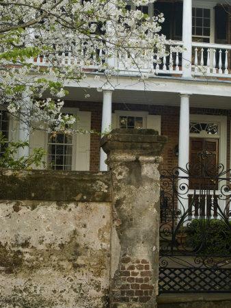 House front with balcony, Charleston, South Carolina, USA