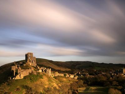 Corfe Castle and Corfe Village, Late Evening Light, Dorset, Uk. November 2008-Ross Hoddinott-Photographic Print