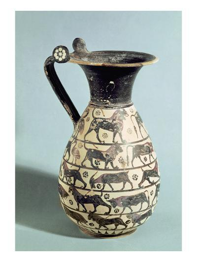 Corinthian Oinochoe Decorated with Lions, from Vulci, C.530-520 BC (Ceramic)-Greek-Giclee Print