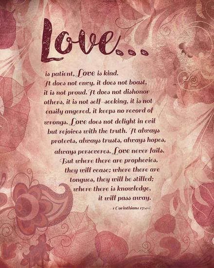 Corinthians 13:4-8 Love is Patient - Pink Floral-Inspire Me-Art Print