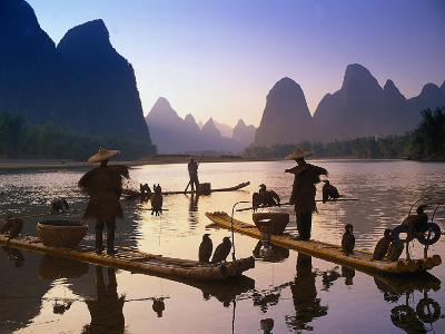 Cormorant, Fisherman, China-Peter Adams-Photographic Print