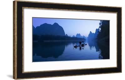 Cormorant Fisherman on Li River at Dawn, Xingping, Yangshuo, Guangxi, China-Ian Trower-Framed Photographic Print