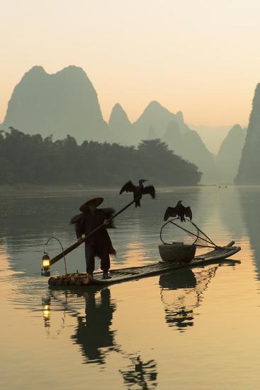 Cormorant Fisherman on Li River at Dawn, Xingping, Yangshuo, Guangxi, China-Ian Trower-Photographic Print