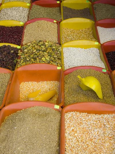 Corn and Grains Displayed in Market, Cuzco, Peru-John & Lisa Merrill-Photographic Print