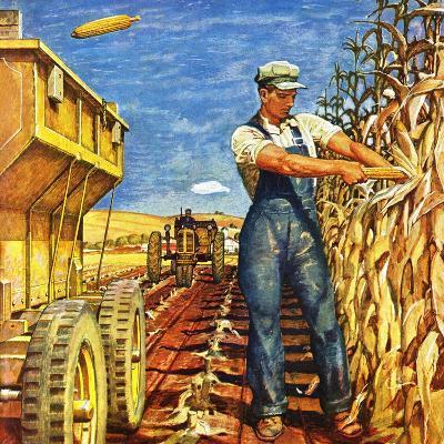 """Corn Harvest,"" October 9, 1948-Mead Schaeffer-Giclee Print"