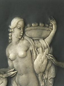 Chiselled Silver Plate Depicting Mythological Scene. Detail: Diana the Hunter by Cornelio Ghiretti