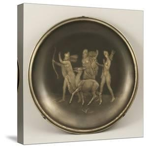 Chiselled Silver Plate Depicting Mythological Scene with Diana the Hunter by Cornelio Ghiretti