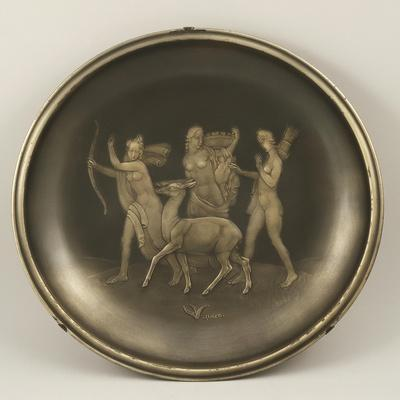 Chiselled Silver Plate Depicting Mythological Scene with Diana the Hunter