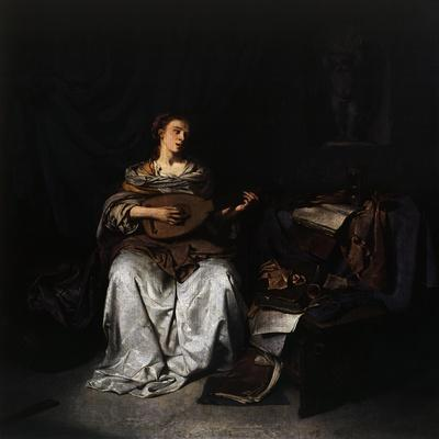 Woman Playing Lute, 1664-1665