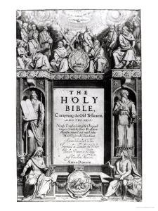 """Frontispiece to """"The Holy Bible,"""" Published by Robert Barker, 1611 by Cornelis Boel"""