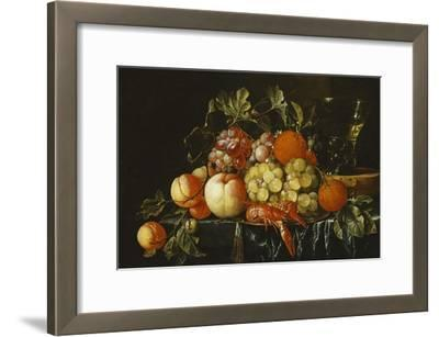 Peaches, Oranges, Grapes and Langoustines on a Pewter Plate and a Conical Roemer on a Box on a…
