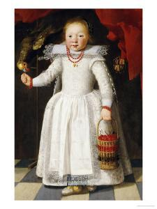 A Young Girl Holding a Basket of Cherries with a Parrot on a Perch, 1625 by Cornelis De Vos