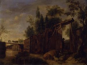 River Bank with Fence by Cornelis Gerritsz Decker